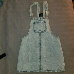 Washed denim overall skirt